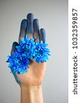 hand with blue flowers. nature... | Shutterstock . vector #1032359857