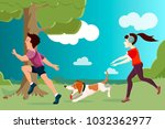 vector characters. a young girl ...   Shutterstock .eps vector #1032362977