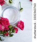 cream cosmetic natural pink... | Shutterstock . vector #1032363763