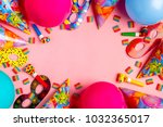 bright decor for a birthday ... | Shutterstock . vector #1032365017