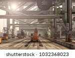 automated guided vehicles... | Shutterstock . vector #1032368023