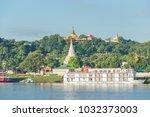 sagaing hill from ferry ... | Shutterstock . vector #1032373003