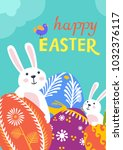 happy easter greeting card with ... | Shutterstock .eps vector #1032376117