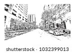 downtown road view with... | Shutterstock .eps vector #1032399013
