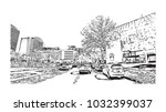 downtown road view with... | Shutterstock .eps vector #1032399037