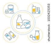 line illustration of dairy... | Shutterstock .eps vector #1032425353