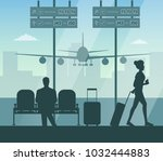 airport passenger terminal and... | Shutterstock .eps vector #1032444883