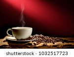 cup of coffee with smoke and...   Shutterstock . vector #1032517723