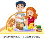 family with toddler and dog... | Shutterstock .eps vector #1032519487