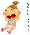 baby girl crying on white...   Shutterstock .eps vector #1032519583