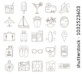 set of travel icons in line... | Shutterstock .eps vector #1032523603