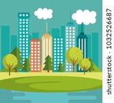 landscape with neighborhood...   Shutterstock .eps vector #1032526687
