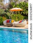 beautiful beach with swimming... | Shutterstock . vector #1032526897