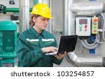 industrial worker with notebook | Shutterstock . vector #103254857