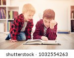 three years old child and his... | Shutterstock . vector #1032554263