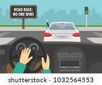 hands driving a car on a... | Shutterstock .eps vector #1032564553