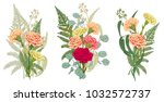 set of bouquets carnation  fern ... | Shutterstock .eps vector #1032572737