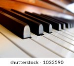 Soft piano in sunset - stock photo