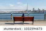 Small photo of View on Golden Horn Bay (or Zolotoy Rog) with Golden Bridge (or Zolotoy bridge) on background. In the foreground there is a bench with a tourist, admiring a beautiful panorama. Russia, Vladivostok.