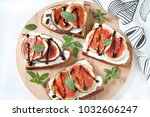 delicious breakfast toasts with ... | Shutterstock . vector #1032606247