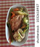 Small photo of Boiled red snapper or rose fish with vegetables