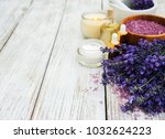spa products with lavender... | Shutterstock . vector #1032624223