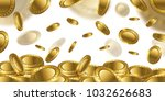 fortune realistic 3d gold empty ... | Shutterstock . vector #1032626683