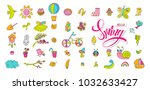 hand drawn raster copy set with ... | Shutterstock . vector #1032633427
