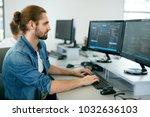 programming. man working on... | Shutterstock . vector #1032636103