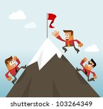 Climbing to the Top Career. Vector - stock vector