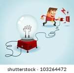 Turn on the idea. Vector - stock vector