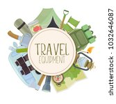 set of travel equipment.... | Shutterstock .eps vector #1032646087