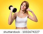 beautiful sport woman with... | Shutterstock . vector #1032674227