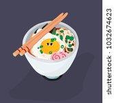 ramen noodles bowl with egg... | Shutterstock .eps vector #1032674623