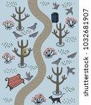 retro style park illustration... | Shutterstock .eps vector #1032681907