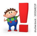 cute little cartoon boy with exclamation mark - high quality 3d illustration - stock photo
