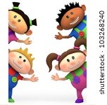 cute little cartoon kids waving from behind blank sign - high quality 3d illustration - stock photo