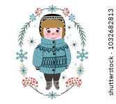 cute winter baby boy in warm... | Shutterstock .eps vector #1032682813