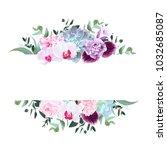 horizontal botanical vector... | Shutterstock .eps vector #1032685087