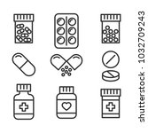 medical pills and bottles icons ... | Shutterstock .eps vector #1032709243