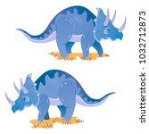 dinosaur triceratops herbivore | Shutterstock .eps vector #1032712873