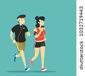 man and woman jogging. vector... | Shutterstock .eps vector #1032719443