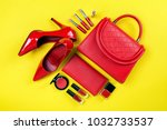 overhead view of essential... | Shutterstock . vector #1032733537