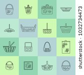 collection of various baskets.... | Shutterstock .eps vector #1032734473