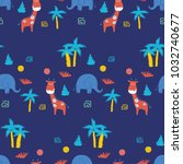 cute seamless pattern with... | Shutterstock .eps vector #1032740677