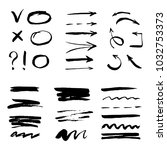set of hand drawn arrow  line   ... | Shutterstock .eps vector #1032753373