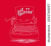 retro typewriter with hand... | Shutterstock .eps vector #1032760057