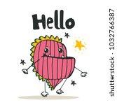 kids cute monster say hello... | Shutterstock .eps vector #1032766387