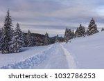 rustic road in winter. bucegi... | Shutterstock . vector #1032786253