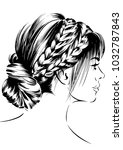 women with messy braid hairstyle   Shutterstock .eps vector #1032787843